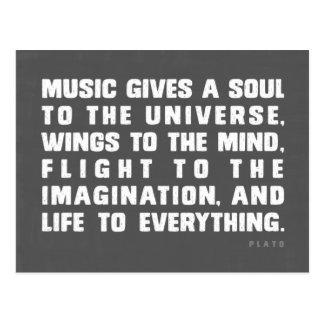 Musik gibt ein Soul zum Universum Postkarte