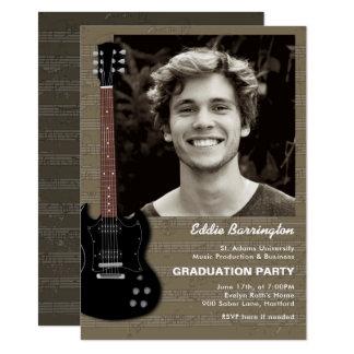 Musik-Gitarren-Foto-Abschluss-Party Einladung