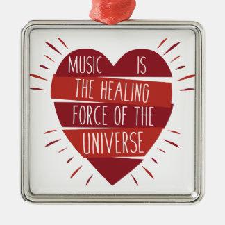 Musik-Heilen Quadratisches Silberfarbenes Ornament