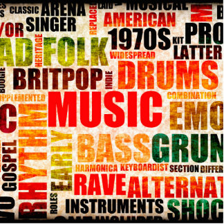 Musik-Hintergrund mit verschiedenen Genren und Fotoskulptur Ornament