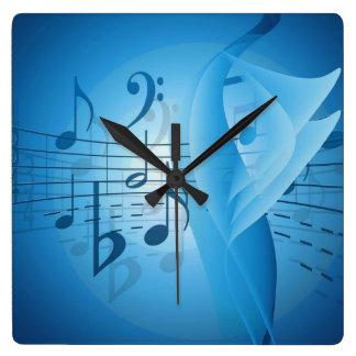 Musik im Blau Quadratische Wanduhr