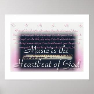 Musik ist der Herzschlag des Gottplakats Poster