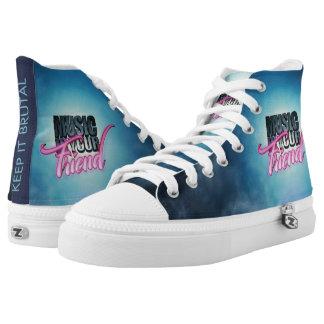 Musik ist Ihre Freund-Logo-hohen Spitzenturnschuhe Hoch-geschnittene Sneaker