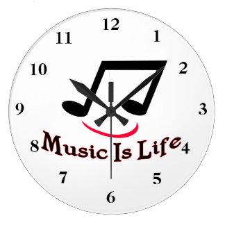 Musik ist Leben-musikalische Anmerkungs-smiley Große Wanduhr
