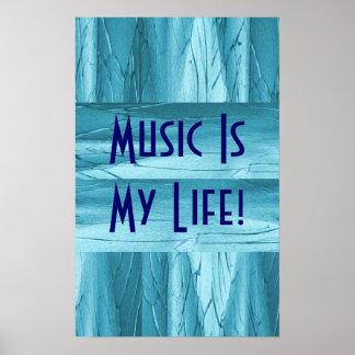 Musik ist mein Leben in blauem Chrom II Plakatdrucke
