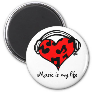 Musik ist mein LebenMagnet Runder Magnet 5,7 Cm