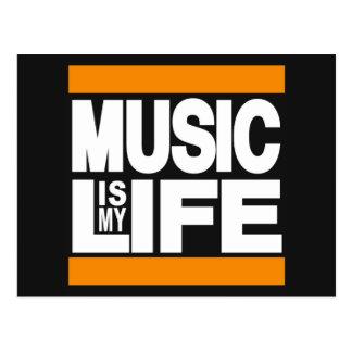 Musik ist meine Leben-Orange Postkarte