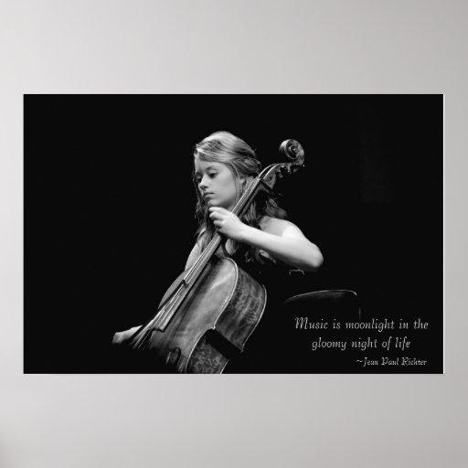 Musik ist Mondschein-feine Kunst-Plakat/Leinwand/D