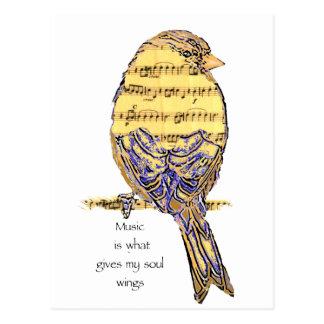 Musik ist, was meinen Soulflügel Vogel gibt Postkarten