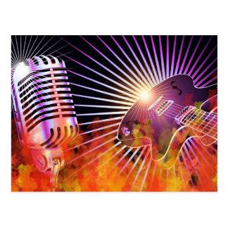Musik-Konzert-Entwurf mit Gitarre Postkarte
