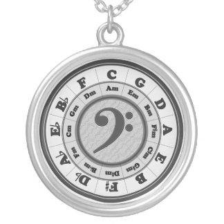 Musik-Kreis von Fünfteln - Bassschlüsselversion Halskette Mit Rundem Anhänger