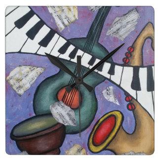 Musik-Kunst-Wanduhr Quadratische Wanduhr