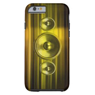 Musik-Lautsprecher mit Goldhellen Streifen Tough iPhone 6 Hülle