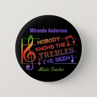 Musik-Lehrer-Name des lustige Musiker-dreifacher Runder Button 5,1 Cm