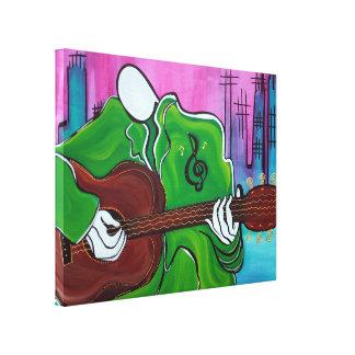 Musik-Mann wickelte Leinwand-Druck ein Gespannte Galerie Drucke