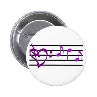 Musik-Personal-Herz-Knopf Runder Button 5,1 Cm