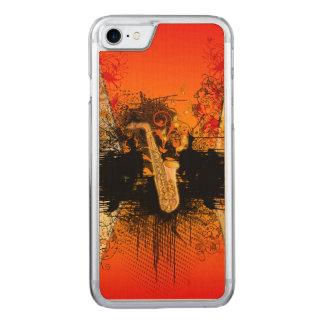 Musik, Saxophon mit Schmutz Carved iPhone 8/7 Hülle
