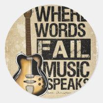 Musik spricht runder aufkleber