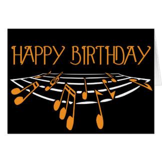 Musik-themenorientierte Geburtstags-Karte - Orange Karte
