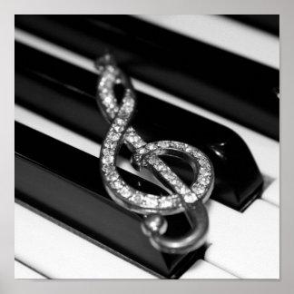 Musik u. ich - Klavier G-Clef Poster