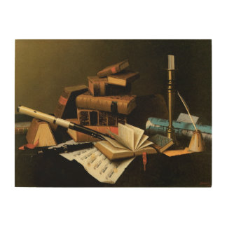 Musik und Literatur durch William Harnett, schöne Holzwanddeko