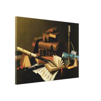 Musik und Literatur durch William Harnett, schöne Leinwanddruck