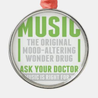 Musik-Wunder-Droge Rundes Silberfarbenes Ornament