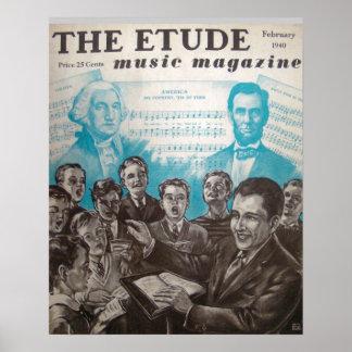 """Musik-Zeitschrift """"die Etüde"""" im Februar 1940 Posterdruck"""