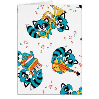 Musikalische blaue Racoons Karte