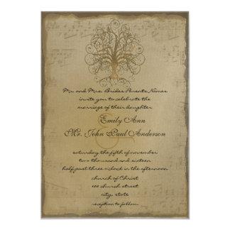 Musikalische Goldstrudel-Baum-Hochzeits-Einladung Karte