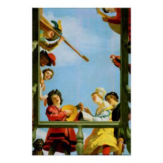 Musikalische Gruppen-Balkon-Kunst Gerrit Van Poster
