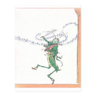 Musikalische Heuschrecke, die Violine spielt Postkarte