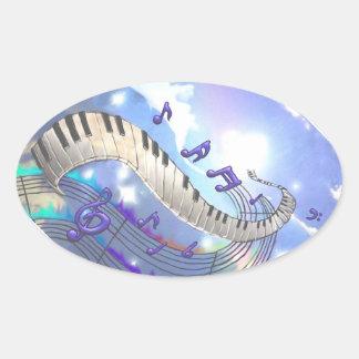 Musikalische Himmel-Klavier-Schlüssel Ovaler Aufkleber