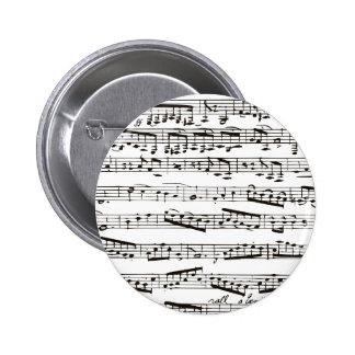 Musikalische Schwarzweiss-Anmerkungen Runder Button 5,7 Cm