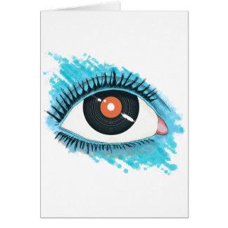 Musikalische Vision: eye illustration with vinyl Karte