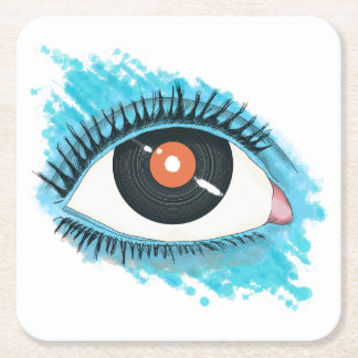 Musikalische Vision: eye illustration with vinyl Rechteckiger Pappuntersetzer