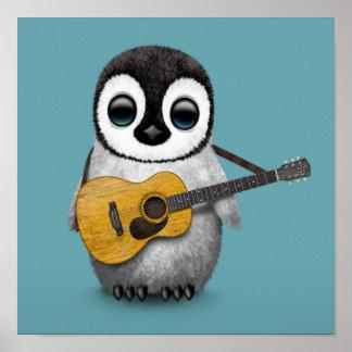 Musikalischer Baby-Pinguin, der Gitarren-Blau Poster