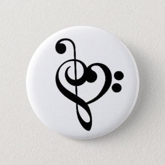 Musikalisches Herz: Entwirrte dreifache und Runder Button 5,1 Cm