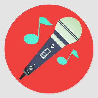 Musikalisches Mikrofon Emoji Runder Aufkleber