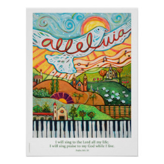 Musikalisches Plakat des Hallelujas für