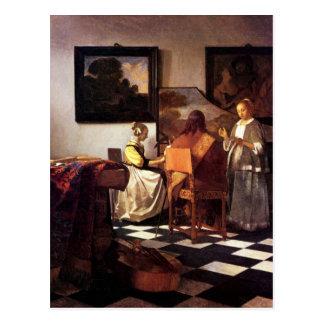 Musikalisches Trio durch Johannes Vermeer Postkarte
