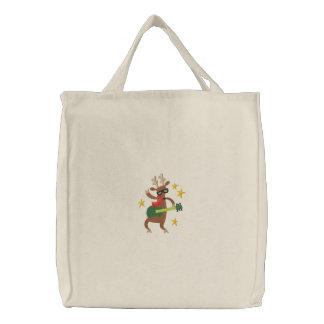 Musikalisches Weihnachten - Ren Bestickte Einkaufstasche