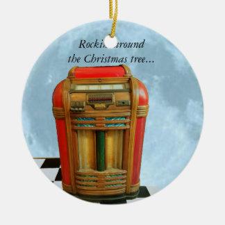 Musikautomat und blauer Mond Keramik Ornament