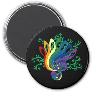 Musikclef-Blumenstrauß Runder Magnet 7,6 Cm
