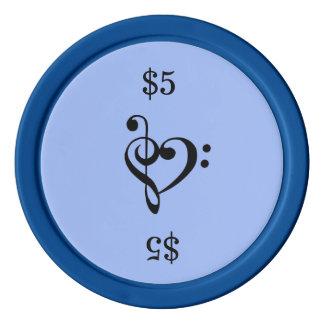 Musikclef-Herz-Blau Poker Chips Set