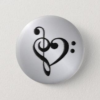Musikclef-Herz Runder Button 5,7 Cm