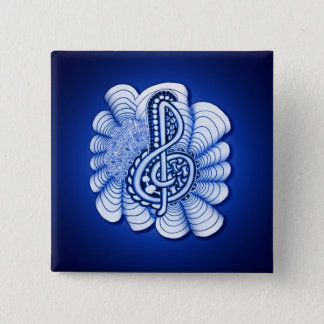 Musikdreifacher Clef dekorativ und Personalizable Quadratischer Button 5,1 Cm