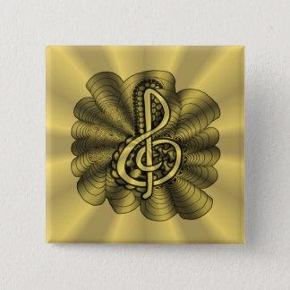 Musikdreifacher Clef-Gold besonders angefertigt Quadratischer Button 5,1 Cm