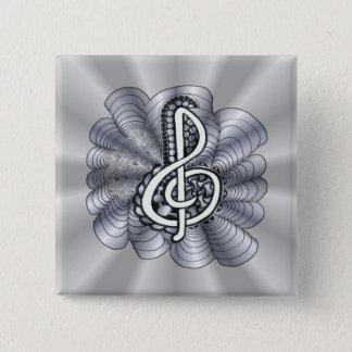 Musikdreifacher Clef-Silber Quadratischer Button 5,1 Cm