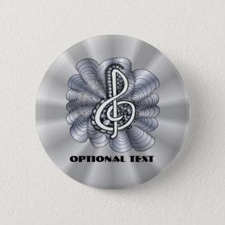 Musikdreifacher Clef-Silber Runder Button 5,1 Cm